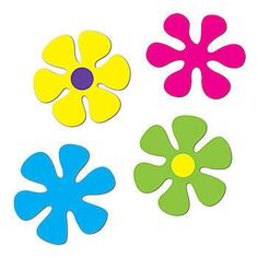 Our Retro Flower Cutouts features pink, yellow, green and yellow flower cutouts. Already have these.