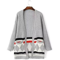 Yoins Yoins Grey Patch Pockets Cardigan ($23) ❤ liked on Polyvore featuring tops, cardigans, grey, sweaters & cardigans, gray top, grey cardigan, gray cardigan and grey top