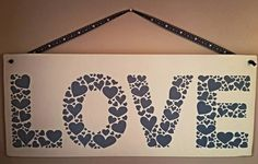 Love Sign, Hearts, Love Hearts Sign, Handpainted, Large Wooden Sign, Valentine's Gift, Anniversary Gift, Wedding Gift, Love Hearts, Ribbon by FioreCrafts on Etsy Heart Sign, Love Heart, Love Signs, Gift Wedding, Wooden Signs, Valentine Gifts, Anniversary Gifts, Hearts, Ribbon