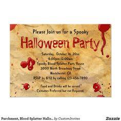 Pergament, Blut Spritzer Halloween Einladungen 11,4 X 15,9