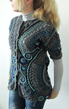 Winter blue freeform crochet handmade par MARTINELI sur Etsy, $280.00