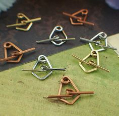 3 Toggle Clasps - Square Wire - Hand Forged - Aluminum, Stainless Steel, Brass, Bronze, Copper