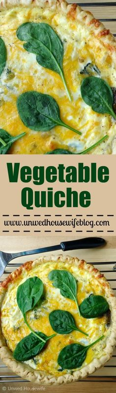 Vegetable Quiche | Unwed Housewife | A hearty, vegetarian quiche made with four types of vegetables and three cheeses. A vegetable quiche that's perfect for breakfast, brunch, lunch (even dinner!).