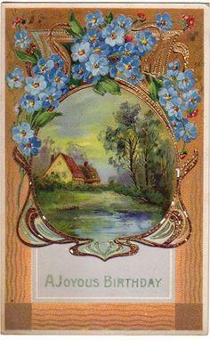 free vintage birthday card country lake scene blue flowers