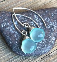 Min Favorit Aqua Seafoam Chalcedony & Silver Pl Artisan Drop Earrings NEW STYLE! #minfavorit #DropDangle #aquaearrings #wrappedgemstones