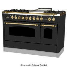 Hallman 48 in. Double Oven Dual Fuel Italian Range True Convection, 7 Burners, Griddle, LP Gas, Brass Trim in - The Home Depot Stainless Steel Griddle, Stainless Steel Appliances, Kitchen Appliances, Kitchen Pantries, Refinish Kitchen Cabinets, Kitchen Cabinet Doors, Electric Stove, Gas And Electric, Luxury Kitchens