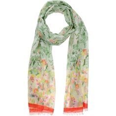 Franco Ferrari Stole ($58) ❤ liked on Polyvore featuring accessories, scarves, light green, floral scarves, floral print scarves, franco ferrari, franco ferrari scarves and floral shawl