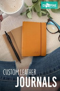 Our leather journals come in various sizes, leather colors, and closure types so you can find the one that is just right for you Leather Gifts, Handmade Leather, Leather Journal, Graduation Ideas, Custom Leather, Ox, Book Lovers, Journals, Pine