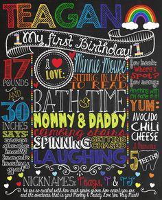 RAINBOW Multicolor First Birthday Chalkboard Sign for Rainbow themed birthday party! Custom printable chalkboard great photoshoot prop