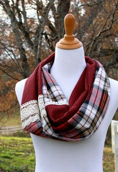15 Minute Plaid and Lace Infinity Scarf - Plaid Infinity Scarf, Infinity Scarfs, Infinity Scarf Tutorial, Lace Scarf, Diy Scarf, Sewing Tutorials, Sewing Projects, Sewing Hacks, Sewing Crafts