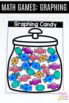 Graphing Candy- Fun math games to teach graphs and simple data analysis in 1st Grade! First Grade Math, Grade 1, Tally Chart, Core Learning, Fun Math Games, Bar Graphs, Best Candy, Math Centers, Have Fun