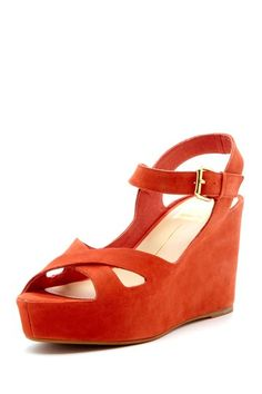 {Eileen Wedge Sandal in Red} Dolce Vita