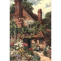 Surrey 1906 A cottage home Compton Surrey Canvas Art - Harold Sutton Palmer (18 x 24)