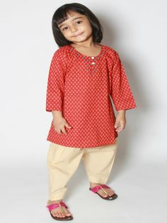 Red Blockprint Cotton Salwar Kurta Dupatta Set