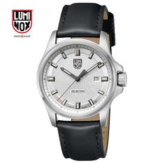 Luminox 42mm Field Watch DD, Silver Dial, Stainless Steel, Brushed Round, Black Leather Strap Watch