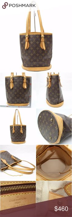 Louis Vuitton Monogram Bucket Marais 141993 Tote GOOD+ CONDITION ( 7.5/10 or B+ )  (Outside Flaws) Minor rubs on the leather parts Minor tear on the edge of the upper parts  (Outside Flaws) Minor spots on the leather parts  (Handle) Minor rubs on a part of handle Minor cracks on a part of handle Minor stains on a part of handle  SKU : 141993 Louis Vuitton Bags Totes
