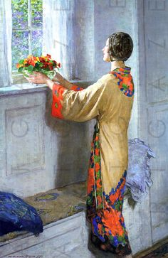 View A new day by William Henry Margetson on artnet. Browse upcoming and past auction lots by William Henry Margetson. Art And Illustration, Figure Painting, Painting & Drawing, Art Nouveau Pintura, Art Amour, Art Japonais, Art Graphique, Beautiful Paintings, Oeuvre D'art