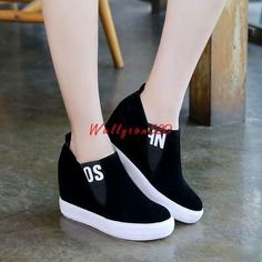 Womens Hidde Wedge Heel Platforms Slip On Fashion Sneakers Preppy Causal Shoes # - schuhe - Zapatos Sneakers Fashion Outfits, Fashion Heels, Fashion Boots, High Fashion, Trendy Shoes, Cute Shoes, Casual Shoes, Slip On Shoes, Wedge Shoes