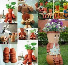 déco de jardin en  pots en terre cuite étape par étape