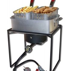 King Kooker - 16 in. BTU Outdoor Cooker with Rectangular Aluminum Fry Pan and Two Baskets - Lets you eat like a king. The top of the outdoor cooker is slightly recessed so that the fry pan sets within the outer cooker frame. Propane Gas Grill, Outdoor Fryer, Outdoor Stove, Fish Fryer, Stoves Cookers, Aluminum Pans, Aluminum Metal, Cooking Appliances, Shopping