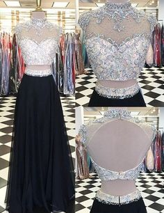 Glamorous Two Piece High Neck Cap Sleeves Long Black Prom Dress with Beading Open Back