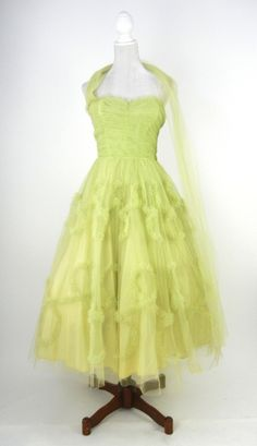 Vintage 1950s Pistachio Green Tulle Strapless Dress, Small