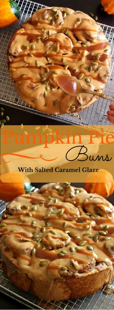 These Pumpkin Pie Buns are out of this world! Pillowy, buttery yeasted buns made from a pumpkin enriched dough filled with a spiced Pumpkin Pie Filling and topped with a decadent and sinful Salted Caramel Glaze ! Make them for Thanksgiving or Halloween !