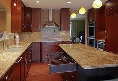 modern cherry kitchen cabinets. Exellent Kitchen Modern Looking Pulls Deep Wood Color U0026 Light Counter Top Intended Cherry Kitchen Cabinets O