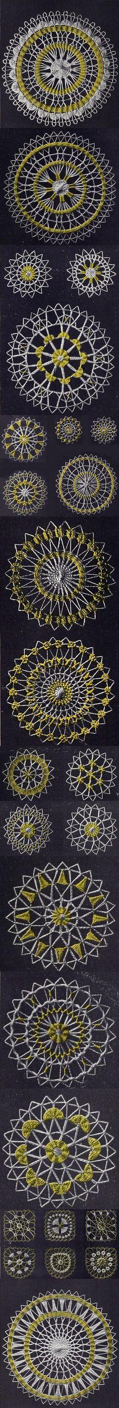 ÑANDUTI O TELA DE ARAÑA: Es un encaje de agujas que se teje sobre bastidores en círculos radiales, bordando motivos geométricos o zoomorfos, en hilo blanco o en vivos colores.