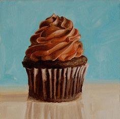 paintings of cupcakes Cupcake Painting, Cupcake Art, Food Painting, Cupcake Cakes, Paint Cake, Painting Still Life, Still Life Art, Chocolate, Realistic Paintings