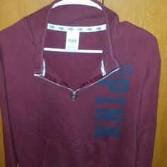 Vs half zip Perfect condition. Flawless. Maroon in color with dark navy almost black writing. Super soft. Runs big so could fit up to a medium. Trade value is $70 PINK Victoria's Secret Tops Sweatshirts & Hoodies