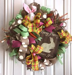 Bunny Wreath wreath for sale #showstopperdesigns $135. Easter wreath for front door. Spring DIY wreath Home Decor.