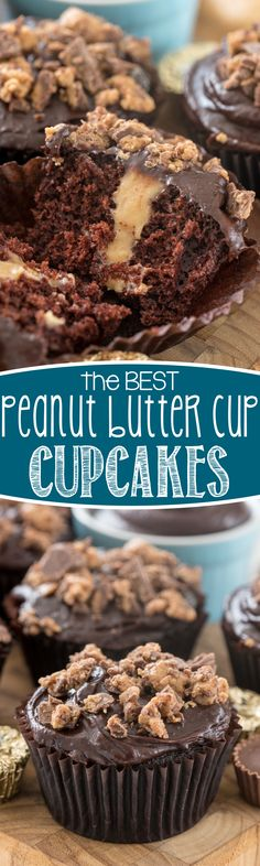 Peanut Butter Cup Cupcakes - this EASY chocolate cupcake recipe has the BEST chocolate frosting and a peanut butter filling that's to die for. EVERYONE loved these cupcakes!