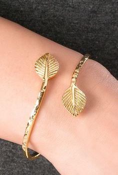 Leaf Wrap Bracelet..love the hammered look