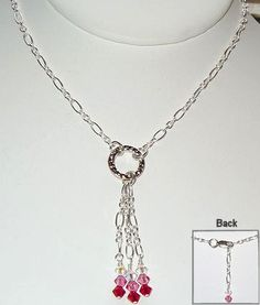 This drop chain necklace can be made in your favorite color combinations. Our Valentine's Day sample necklace is made with Swarovski colors Siam, Rose and Crystal AB. The details for this project are on the Idea Page - Look for project #109