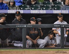 Ron Wotus, Barry Zito, Aubrey Huff, Tim Lincecum, Ryan Theriot & Xavier Nady in Colorado.