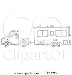 Royalty Free Truck Clip Art by djart Colouring, Coloring Books, Coloring Pages, Hand Embroidery Designs, Embroidery Patterns, Camper Drawing, Camper Signs, Retro Campers, Wood Burning Patterns