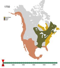 When you watch the GIF, the map, by colors,  shows the changes in ownership of North America over time - from 1750 to present.