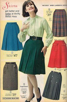 Mid pleated plaid pencil red blue grey green print ad vintage fashion style mod mcm Various skirt styles from Moda Retro, Moda Vintage, Vintage Mode, Vintage Skirt, 60s And 70s Fashion, Retro Fashion, Vintage Fashion, Womens Fashion, Boho Fashion
