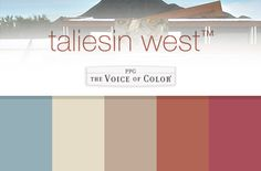 The The Original Taliesin Color Palette from 1955 Collection by Frank Lloyd Wright, a Paint Collection by PPG Voice of Color. These paint color palettes feature the colors used at Frank Lloyd Wright's iconic homes, Fallingwater in Western Pennsylvania and Taliesin West in Scottsdale Arizona, including the famous Cherokee Red. Blend  nature and architecture by replicating the color palettes of these historic homes, in your very own home. #FrankLloydWright