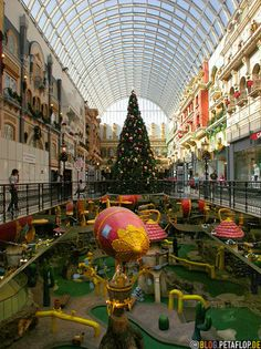 West Edmonton Mall ... Alberta, Canada.  It has not only theme parks and a water park ... but it's own hotel.  Now, THAT'S a MALL!
