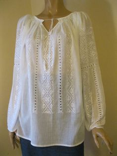 Hand embroidered Romanian blouse , white Byzantine rhomb size M/L - Romanian peasant blouse , ethnic top , hand made traditional blouse Peasant Blouse, Peasant Tops, Tunic Tops, Short Frocks, Embroidered Clothes, Dresses Kids Girl, Cotton Shirts, Romania, My Style