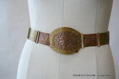Vintage Tooled  Metal Cinch Belt BRASS COPPER  26 to 34 by GoodEye, $42.00