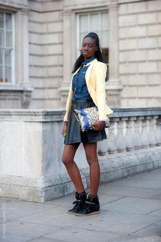 Faux leather skirt + chambray/denim shirt