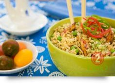 Ginger Fried Rice with chicken, chilli & egg