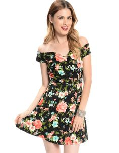 Shop ModDeals.com for Black Off The Shoulder Floral Dress  in our cheap trendy Dresses category. Find trendy cheap clothing for women, discount shoes, jewelry sales, perfume & cheap accessories for wo