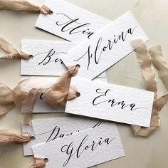 wedding place cards attached to individual menus. Wedding Stationary, Wedding Invitations, Addressing Envelopes, Wedding Calligraphy, Wedding Place Cards, Name Cards, Silk Ribbon, Wedding Designs, Menu