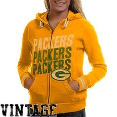 Mitchell & Ness Green Bay Packers Ladies Vintage Full Zip Hoodie - Gold