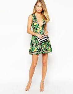 Enlarge Ginger Fizz Lemonade Plunge Dress In Jungle Print
