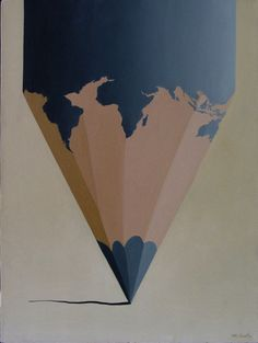 The world on a blue pencil